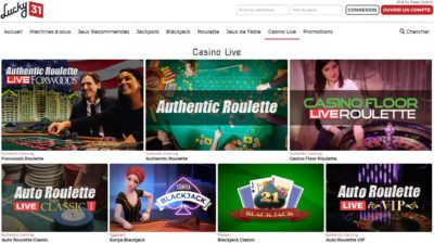 lucky31 live casino roulette acceptant les francais